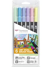 Tombow Dual Brush - Estuche 6 rotuladores doble punta pincel, multicolor