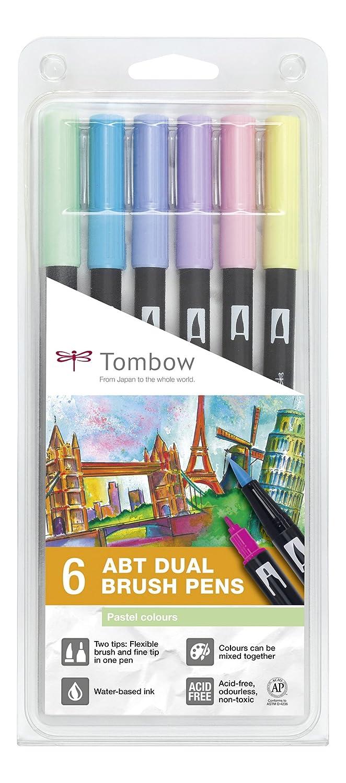 Tombow Dual Brush - Estuche 6 rotuladores doble punta pincel