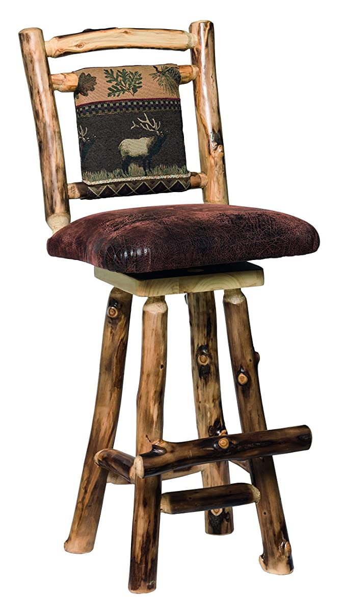 "Aspen Log Swivel 24"" Barstools with Fabric Back - Set of 2 - Erie Fabric"