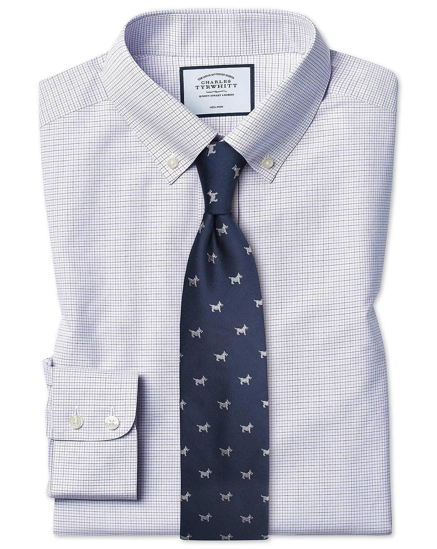 Chemise à Col Boutonné violets Et Bleue à voiturereaux Slim Fit Sans Repassage   Bleue (Poignet Simple)   16.5   35