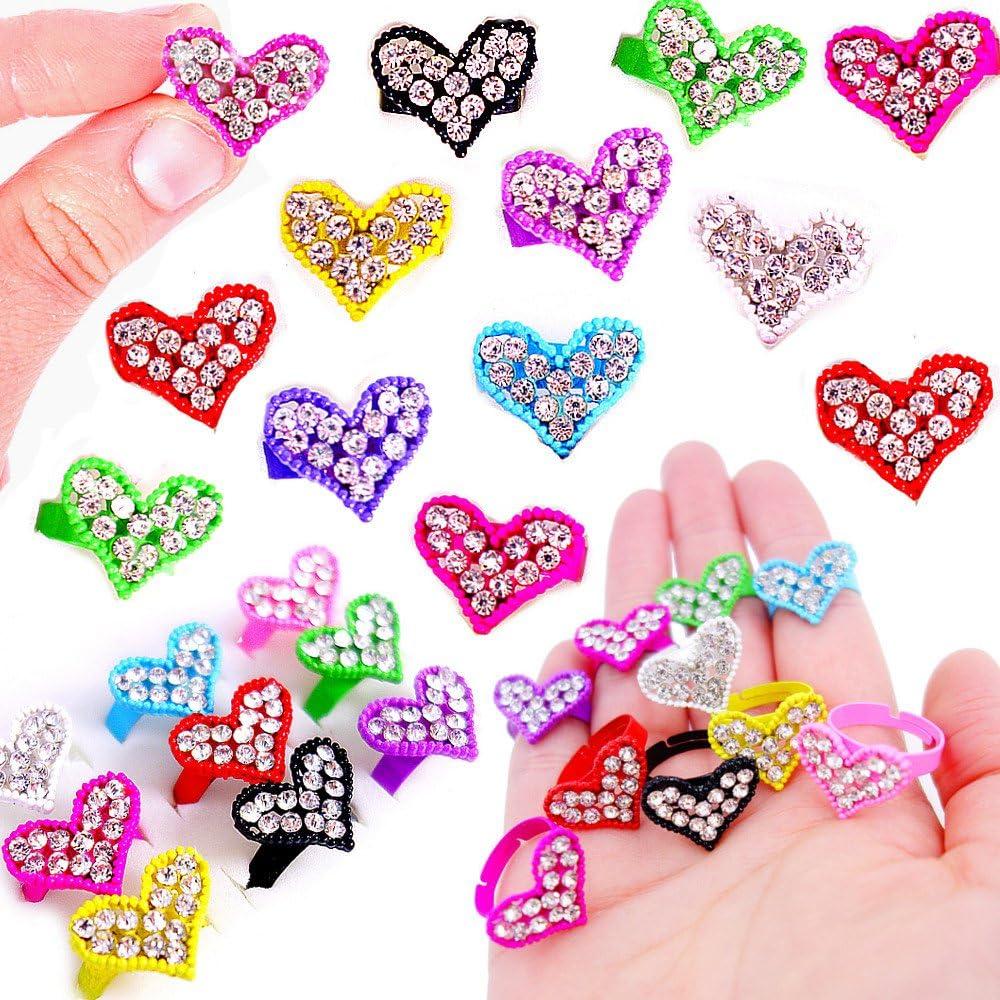 German Trendseller® - 12x Anillos de Piedra con Purpurina para niña - Mezcla┃Regalito┃💎 con Diamantes Reales 💎┃12 Anillos
