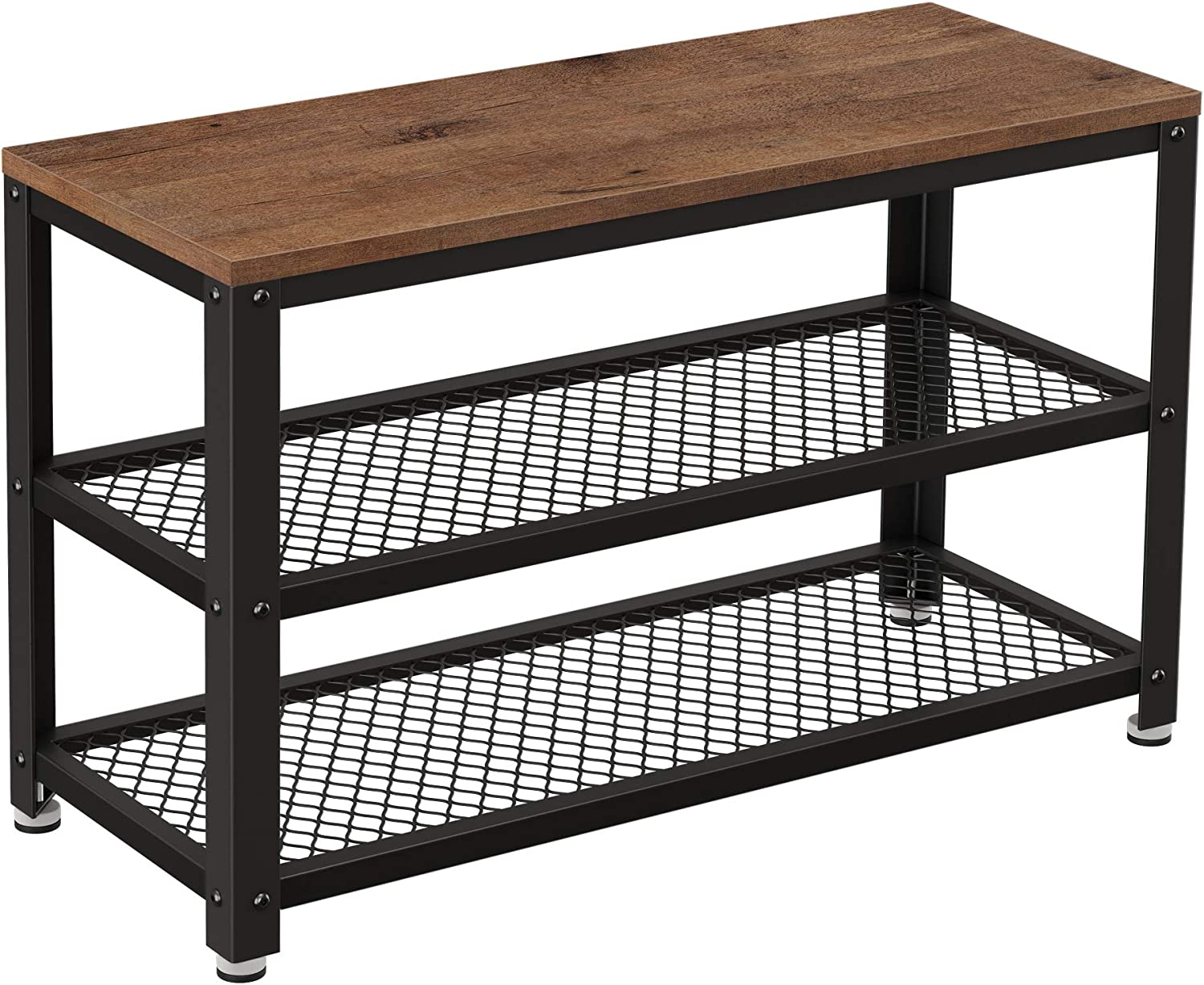 VASAGLE Shoe Bench, 3-Tier Shoe Rack, Storage Organiser with Seat and Shelf, Steel Frame, for Entryway, Living Room, Hallway, Industrial Accent Furniture, Hazelnut Brown and Black LBS073B03