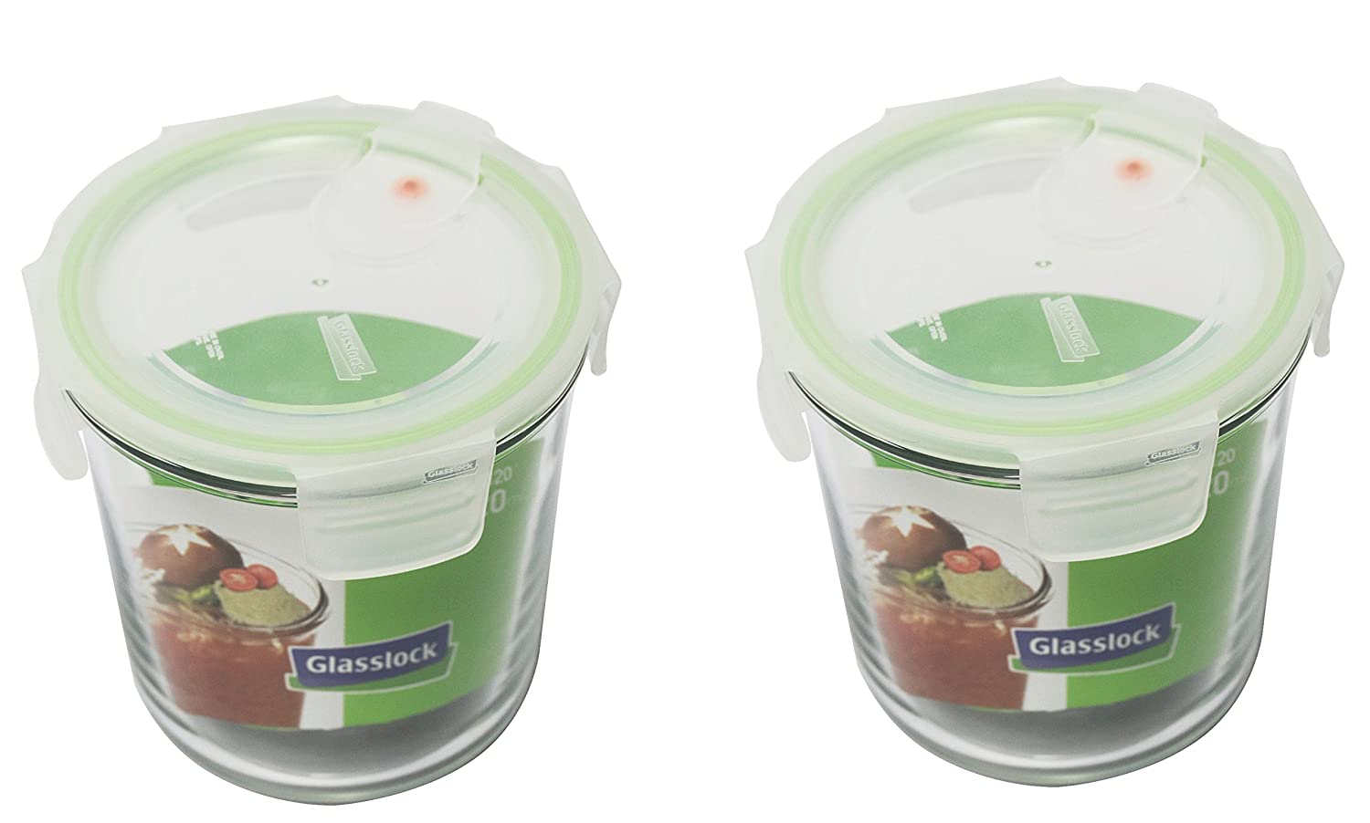 Glasslock, 2x MCCD-072A, 2x 720ml, Round Glass food container Air Type - Microwave