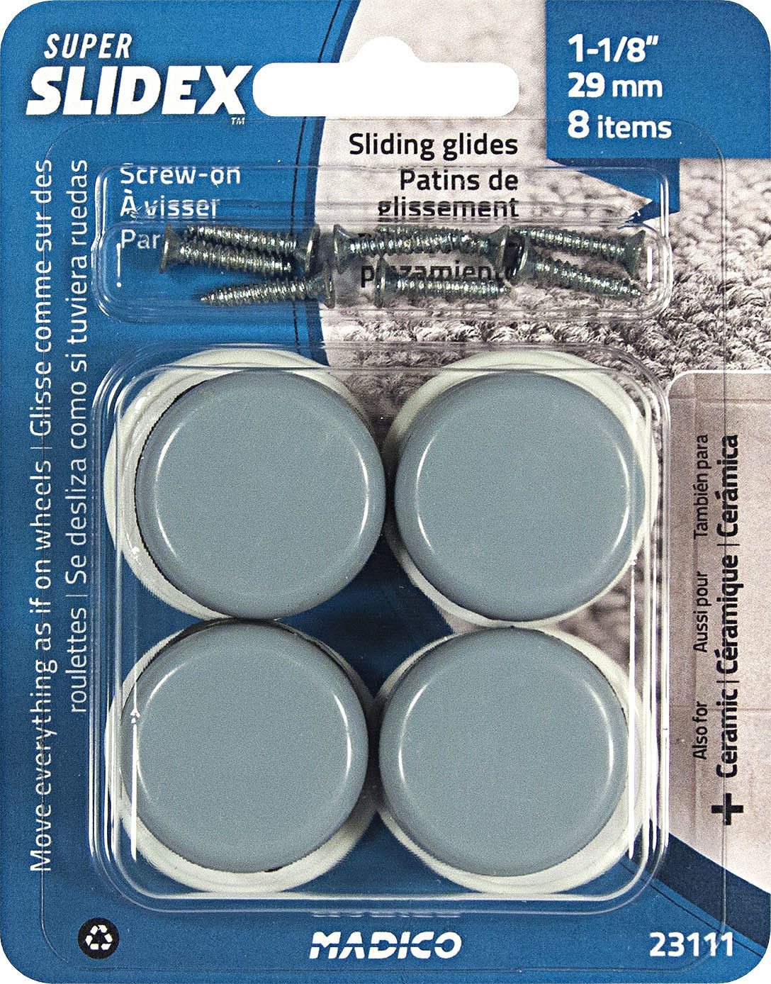 Richelieu Hardware - 23111 - Pack of 8 Units - Super SLIDEX Gray Round Ultra-Sliding Glides - - Amazon.com