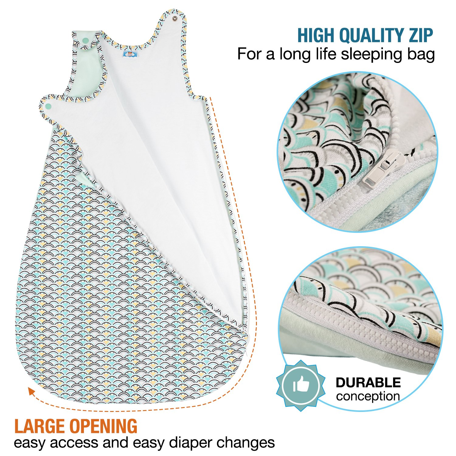 Safe Nights for Toddlers 0-6 Months 2.5 Tog Organic Cotton Comfortable Sleeping Bag Soft 70 cm ⭐ Baby Sleeping Bag 4 Seasons Chemical- Free Guaranteed by Sweety Fox French Design