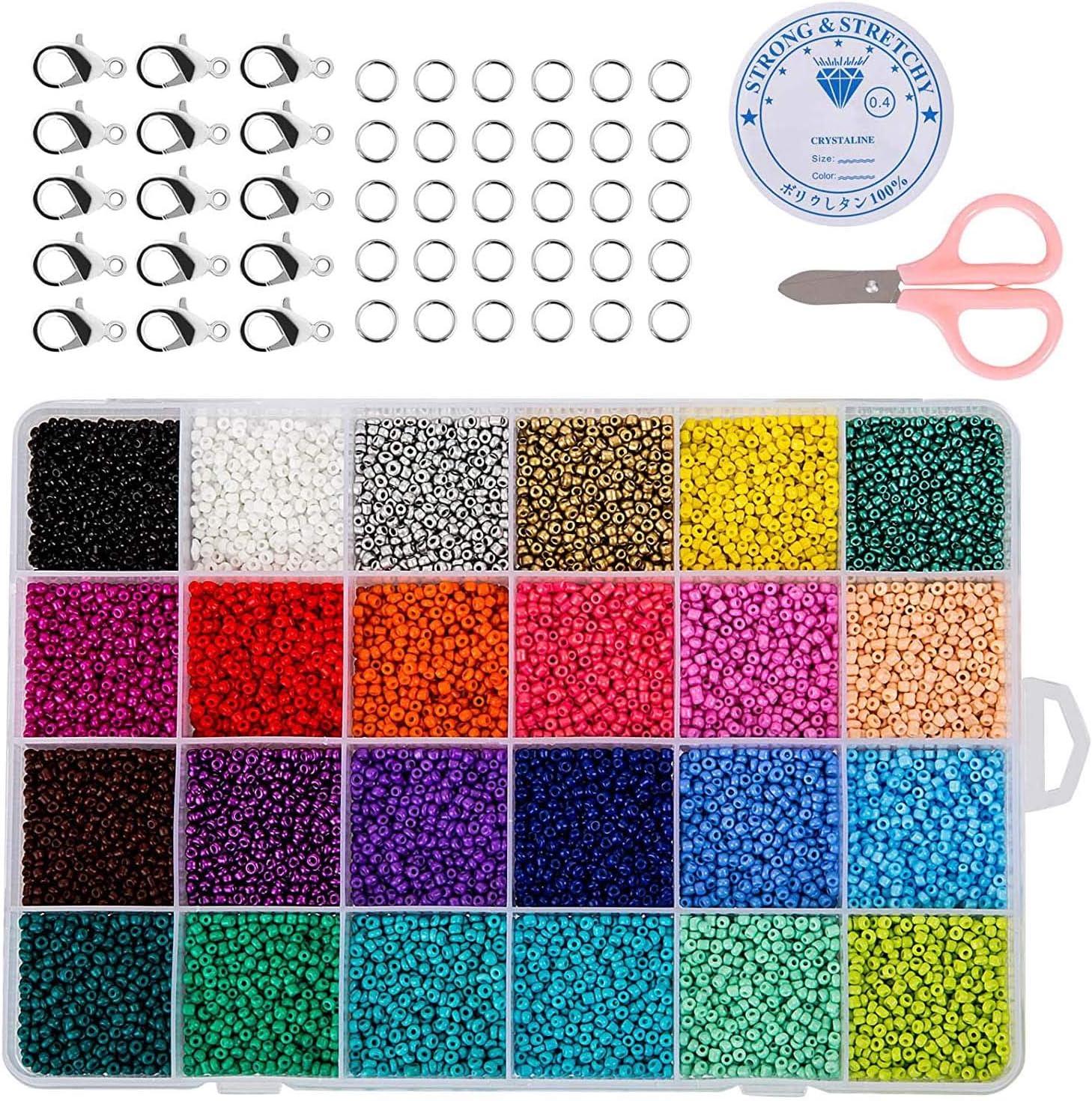 ZWOOS 24000 Piezas Cuentas de Colores 2mm ,Cuentas de Colores para Collares con caja, Mini Cuentas y Abalorios Cristal para DIY Pulseras Collares Bisutería (24 Colores)