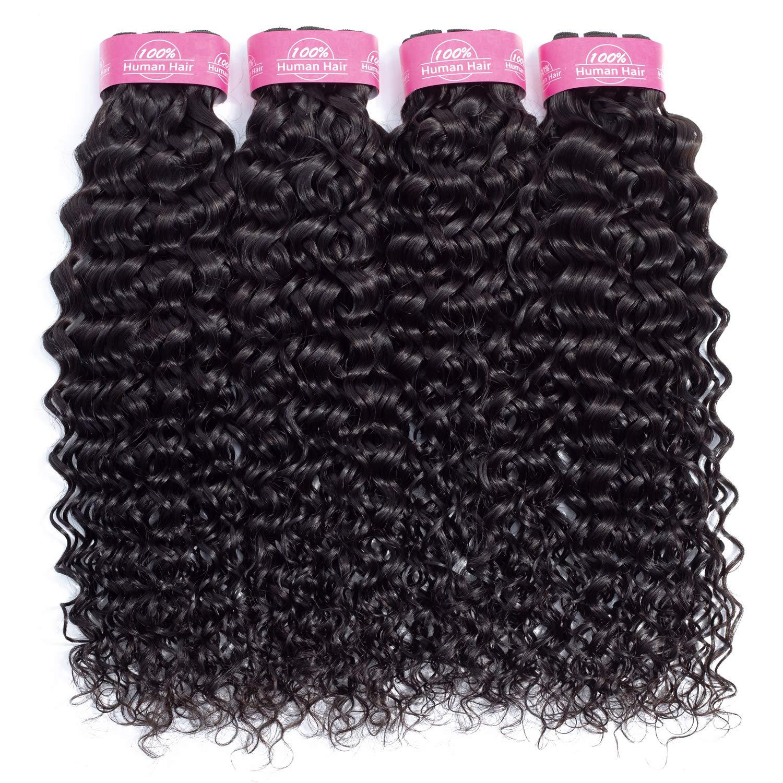 10A Brazilian Human Hair Water Wave Bundles (16 18 20 22) Unprocessed Virgin Brazilian Water Wave Hair 4 Bundles Wet and Wavy Human Hair Weave Bundles