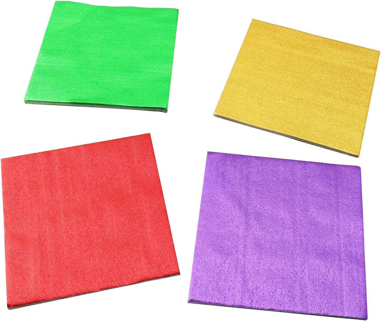 ZYAMY 400pcs 10x10cm Orange Peel Pattern Aluminium Foil Paper for Candy, Desserts, Caramel, Homemade Chocolate, Easter Eggs, Tea Packaging (100pcs Red + 100pcs Gold + 100pcs Green + 100pcs Purple)