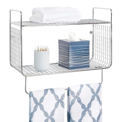 mDesign Repisa de baño – Estante de Pared con Dos baldas para Guardar  champú 3715645a25b6