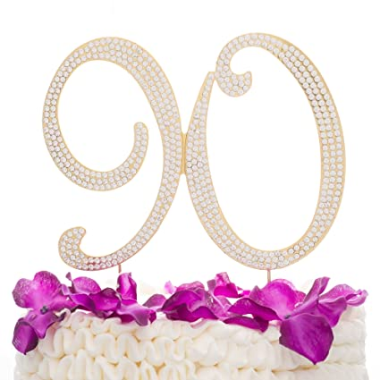 Ella Celebration 90 Cake Topper For 90th Birthday Rhinestone Number Party Supplies Decoration Ideas