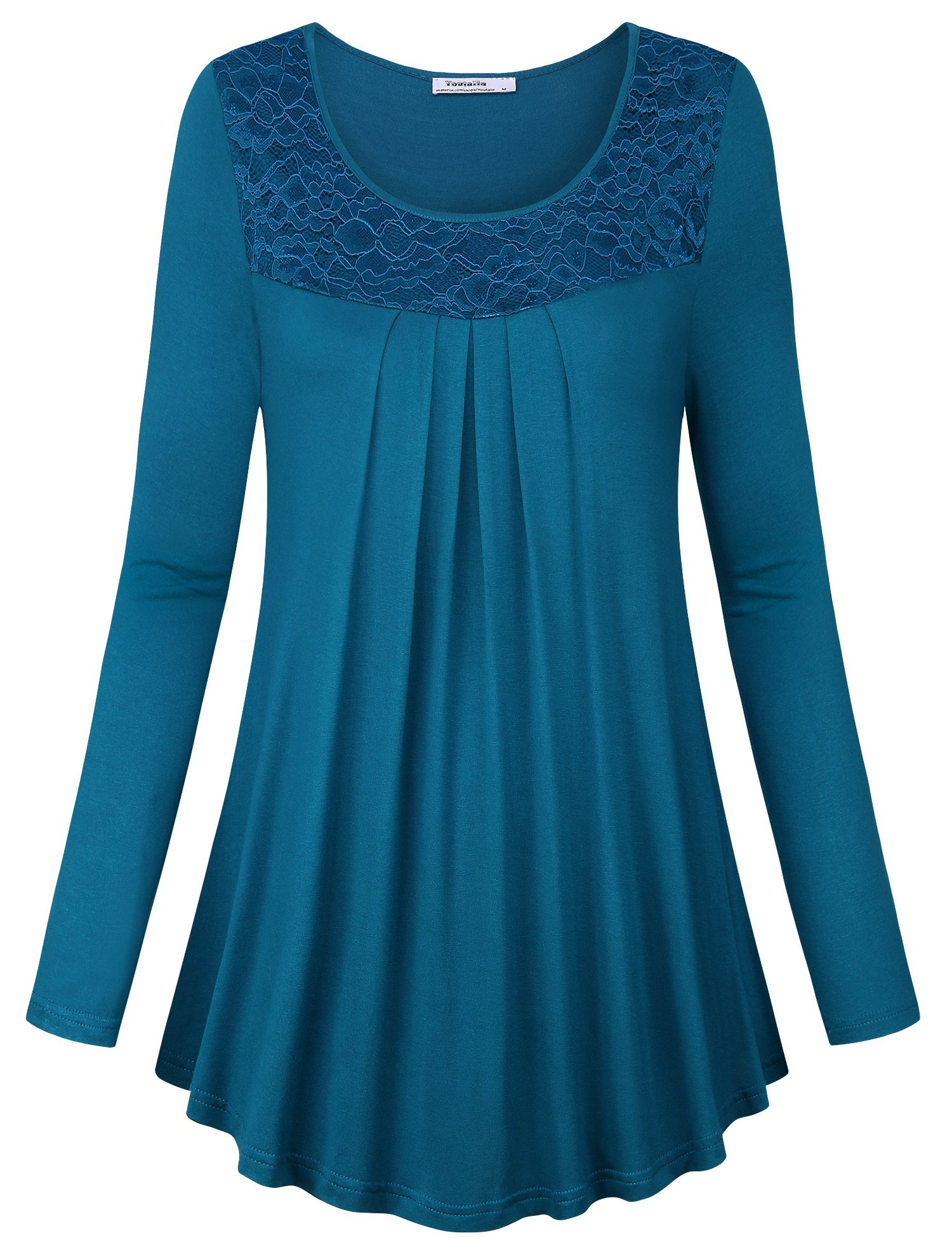 Youtalia Tops for Women, Ladies Long Sleeve Round Neck Soft Elastic Knit Loose Fit Flowy Flared Hem Casual Tunic Tops with Laces,Dark Cyan Medium