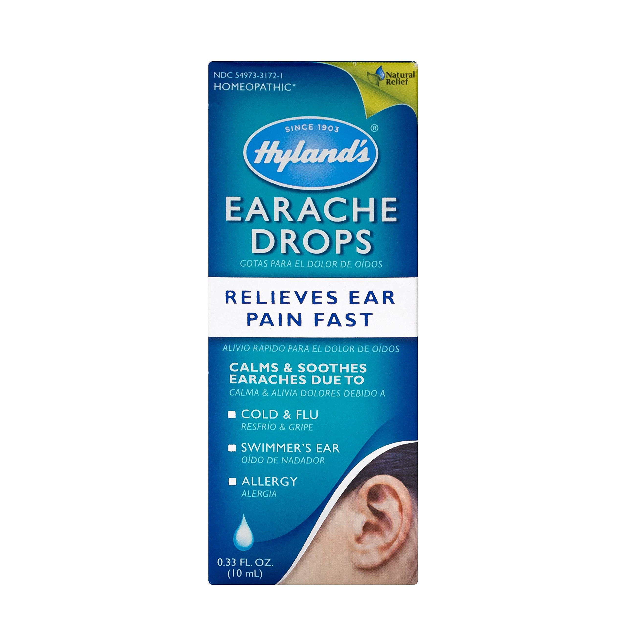 Hyland's Earache Drops, Natural Homeopathic Cold & Flu Earaches, Swimmers Ear and Allergies Relief, 0.33 Ounce