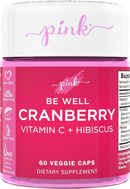 Pink Be Well Cranberry Pills for Women | 60 Veggie Capsules | Plus Vitamin C & Hibiscus | Vegan, Non-GMO & Gluten Free Extract Supplement