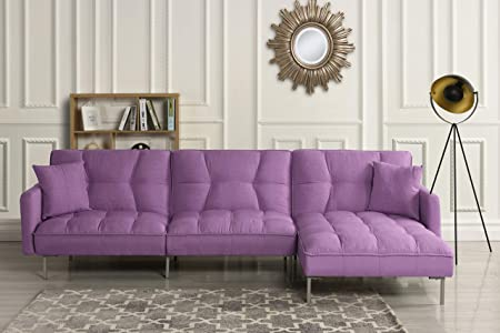 Modern Linen Fabric Futon Sectional Sofa, 110.6 W inches Purple