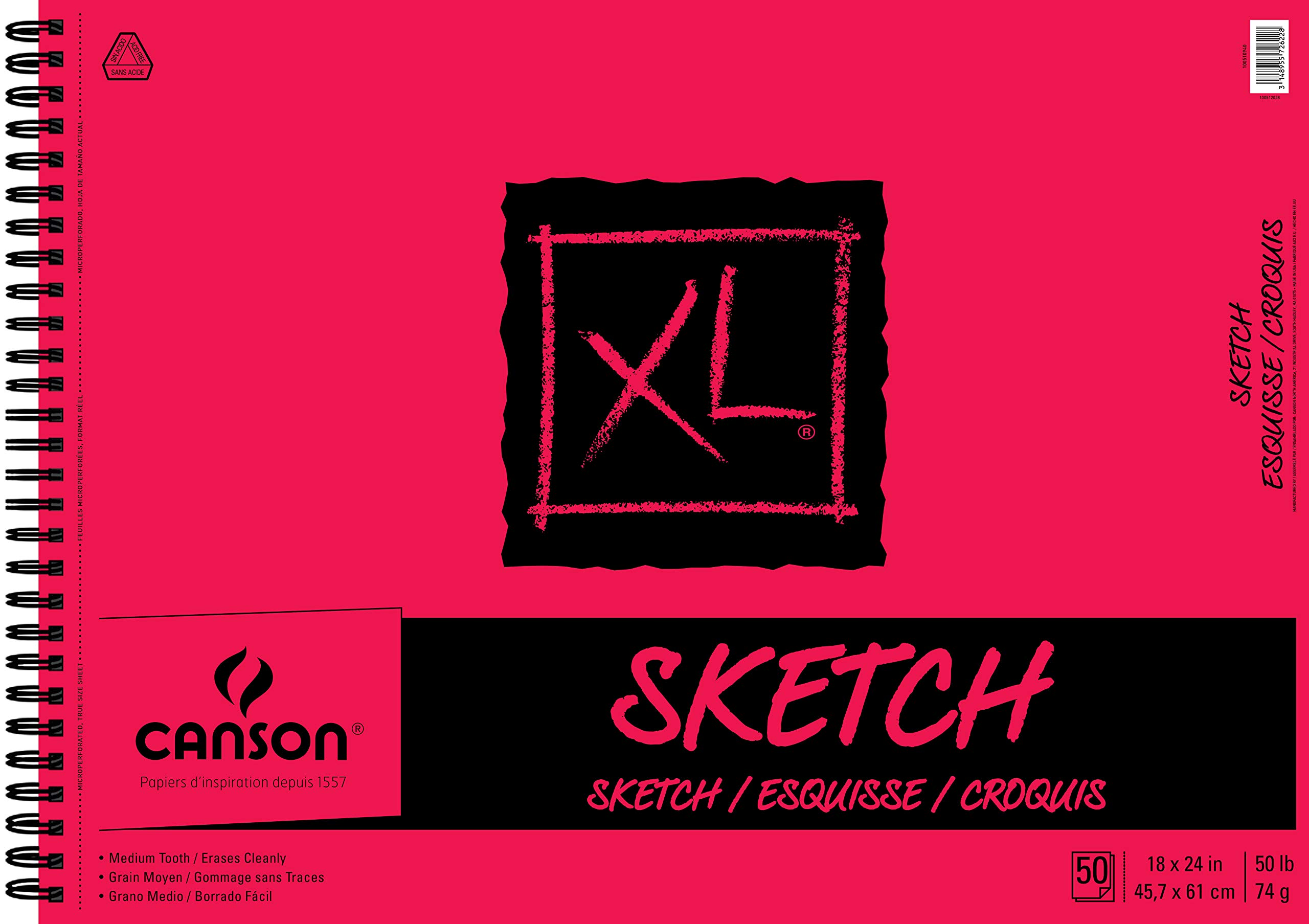 Canson XL Series Paper Sketch Pad for Charcoal, Pencil and Pastel, Side Wire Bound, 50 Pound, 18 x 24 Inch, 50 Sheets by Canson