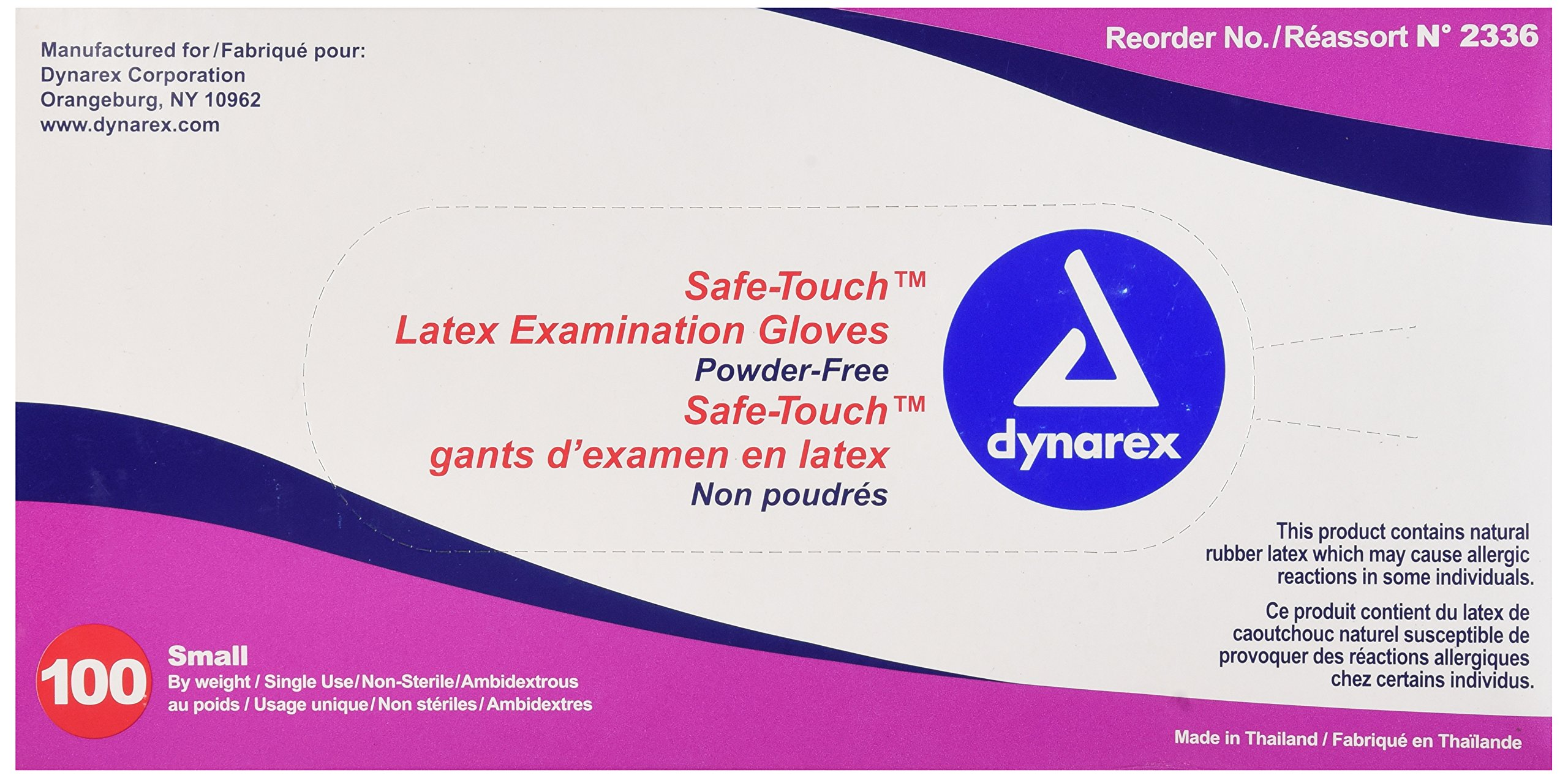 Dynarex Safe-Touch Latex Gloves, Powder-Free, Small, Box/100