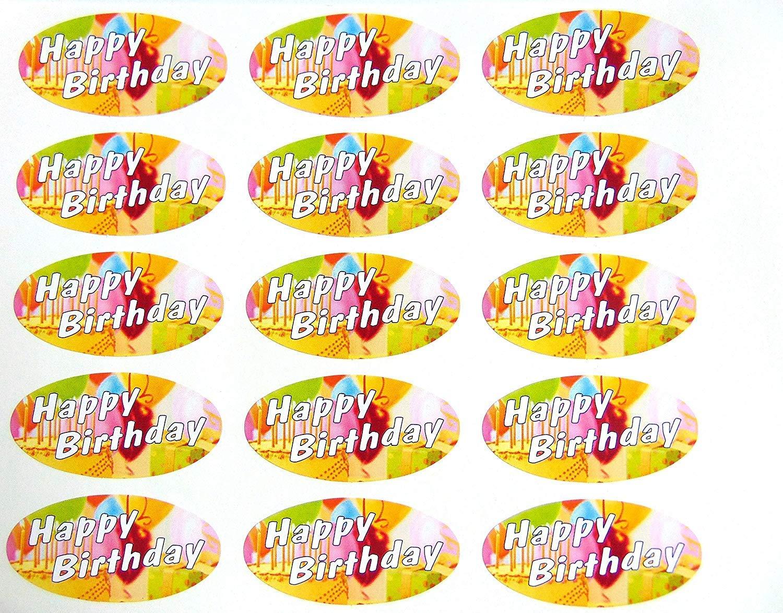 Paquete de 30, feliz cumpleaños sellos, 51 x 25 mm sello ...