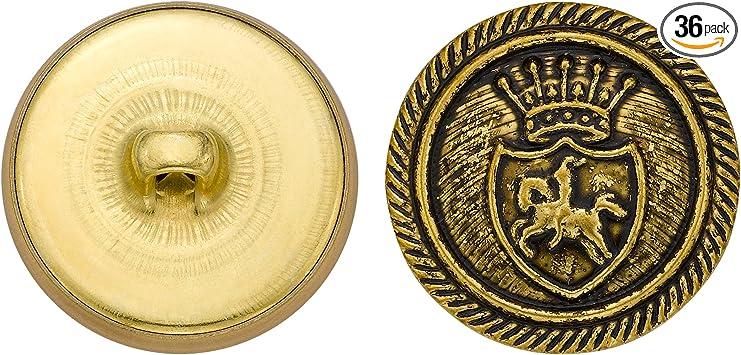 C/&C Metal Products 5312 Royal Horse Crest Metal Button Gold Size 33 Ligne 36-Pack
