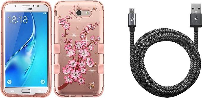 Spring Flowers Case 9 Feet // 2.7 Meters Military Grade - MIL-STD 810G-516.6 Atom Cloth Heavy Duty Braided USB Data Sync Charger Cable Samsung Galaxy J7 Perx Bundle: TUFF Series