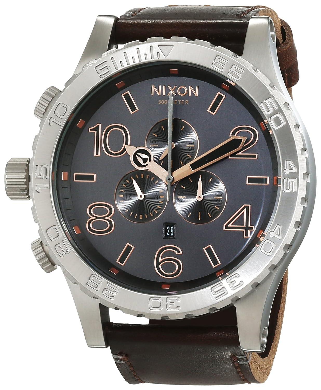 Nixon 51-30 Chrono Leather -Spring 2017- Gray / Rose Gold Black/Chocolate