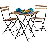 Relaxdays Juego de Muebles de Jardín (Madera, 3 Piezas, Plegable, Bistro, Tamaño de la Mesa: 76 x 60 x 60 cm), Color Natural