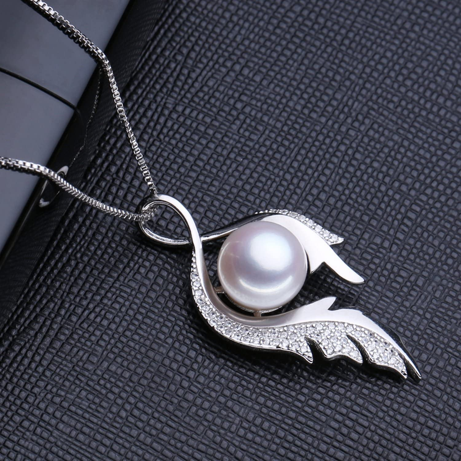 CS-DB Pendants Flower Pearl Feather Silver Necklaces