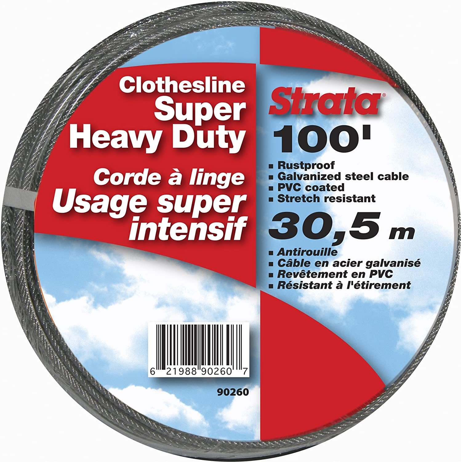 Strata 100' Silver Clothesline - Super Heavy Duty Galvanized Steel Cable, PVC Coasting