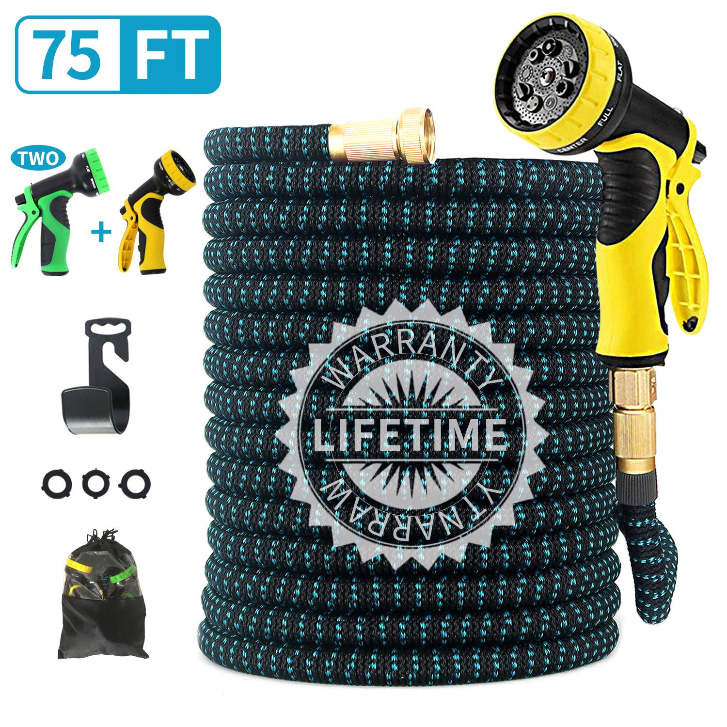 "FIENVO 75 ft Upgraded Expandable Durable No-Kink Flexible Garden Water Hose Set with Extra Strength Fabric Triple Layer Latex Core,3/4"" Solid Brass Connectors 9 Function Spray Hose Nozzle"