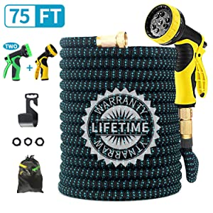 """FIENVO 75 ft Upgraded Expandable Durable No-Kink Flexible Garden Water Hose Set with Extra Strength Fabric Triple Layer Latex Core,3/4"""" Solid Brass Connectors 9 Function Spray Hose Nozzle"""