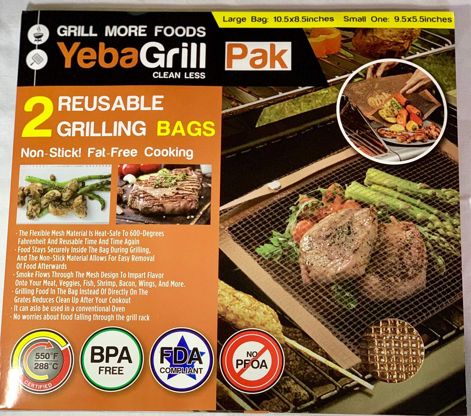 YEBA GRILL PAK - Set of 2 Reusable Grilling Mesh Bags - Non Stick Dishwasher Safe - Easy to Clean - Safe to use on Electric & Charcoal Grill