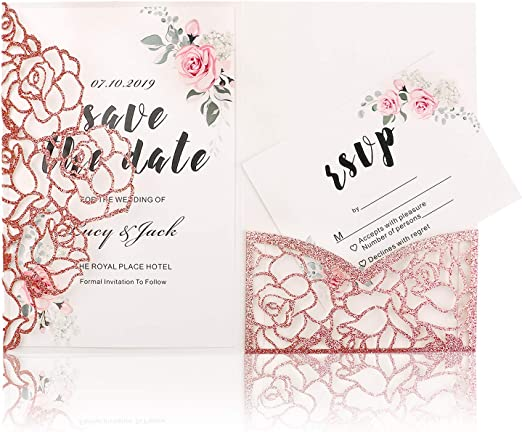 Highyi Laser Cut Wedding Invitation Card Apple Gold Glitter Paper 3 Folds Greeting Card For Engagement Birthday Baby Shower Dinner Diy Blank Inner