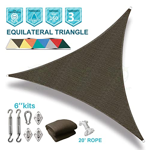 Coarbor 14 x14 x14 Triangle Sun Shade Sail with Hardware kit Perfect for Patio Deck Yard Outdoor Garden Permeable UV Block Shade Cover-Brown -Make to Order