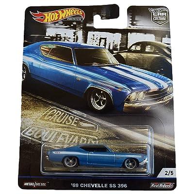 Hot Wheels Car Culture Cruise Boulevard '69 Chevelle SS 396 2/5, Blue: Toys & Games