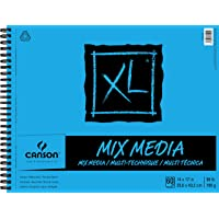 Canson XL Series Mix Paper Pad, Heavyweight, Fine Texture, Heavy Sizing for Wet and Dry Media, Side Wire Bound, 98 Pound…
