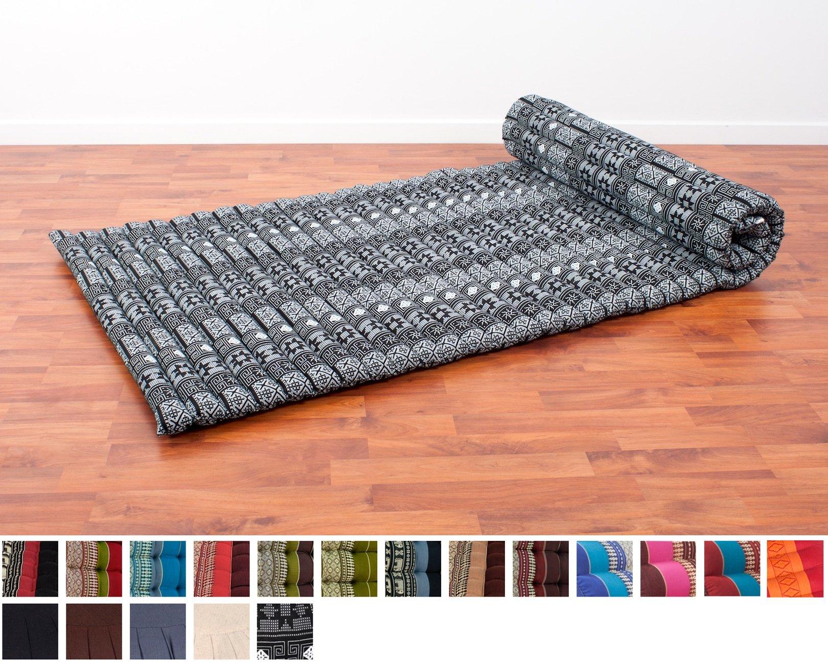 Leewadee Roll Up Thai Mattress, 79x30x2 inches, Kapok Fabric, Black, Premium Double Stitched by Leewadee