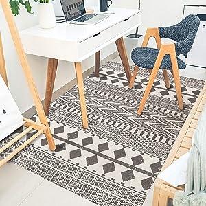 Seavish Cotton Patio Rug, 3'W x 5'L Decorative Grey and Cream Diamond Geometric Kilim Area Rug Hand Woven Carpet Rug for Entryway Thin Floor Mat for Laundry Room Living Room Dorm