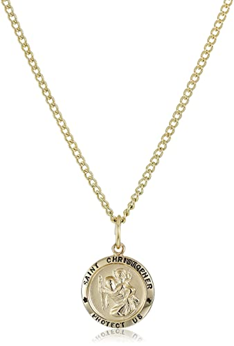 cf25d9b0c06 Amazon.com: 14k Gold-Filled Small Round Saint Christopher Pendant Necklace  with Gold Plated Stainless Steel Chain, 18