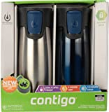 Contigo 2-Pack Vacuum-Insulated Autoseal Travel Tumblers with Easy Clean Lid, Stainless/Midnight Blue