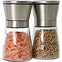 Bayso Pepper & Salt Grinder Set Spice Mill Set Stainless Steel Glass Adjustable Coarseness 2 Packs