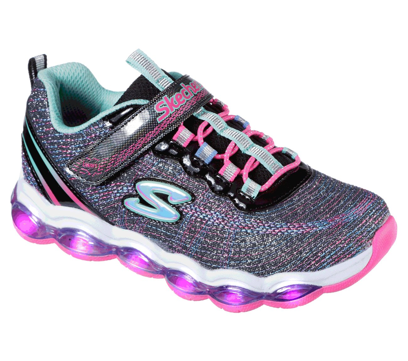 Skechers Kids Girls' Glimmer Lights Sneaker, Black/Multi, 1 M US Little Kid