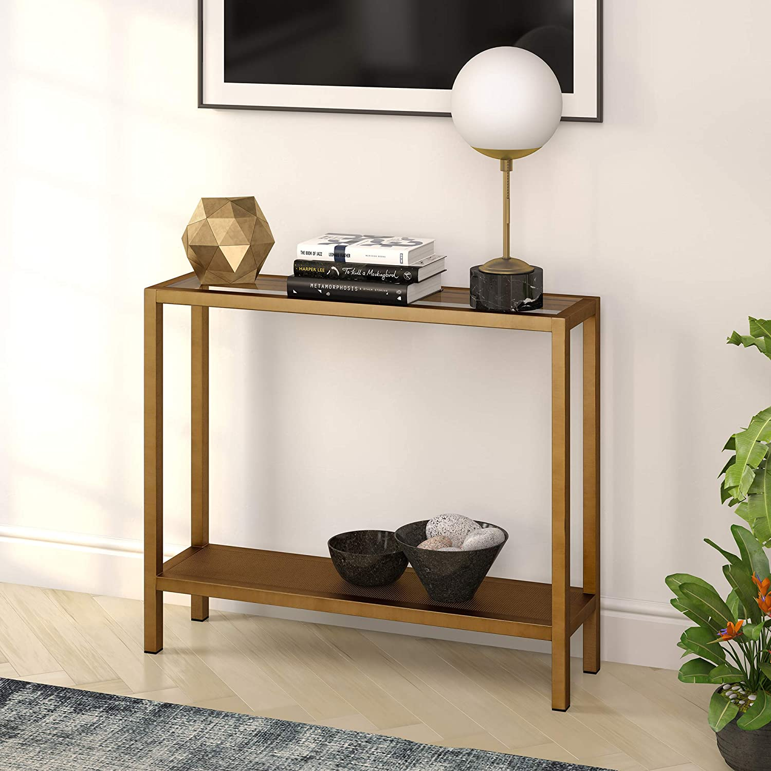 "Henn&Hart AT0175 Industrial Glass Sofa Perforated Metal Storage Shelf for Living Room, Narrow Entryway Brass Console table, 36"", Gold"