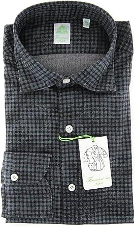 Finamore Napoli Checkered Button Down Spread Collar Cotton Slim Fit Dress Shirt