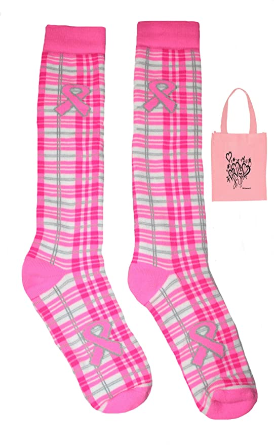 fe867658652 Image Unavailable. Image not available for. Color  Breast Cancer Awareness  Big Girls  Knee Socks ...