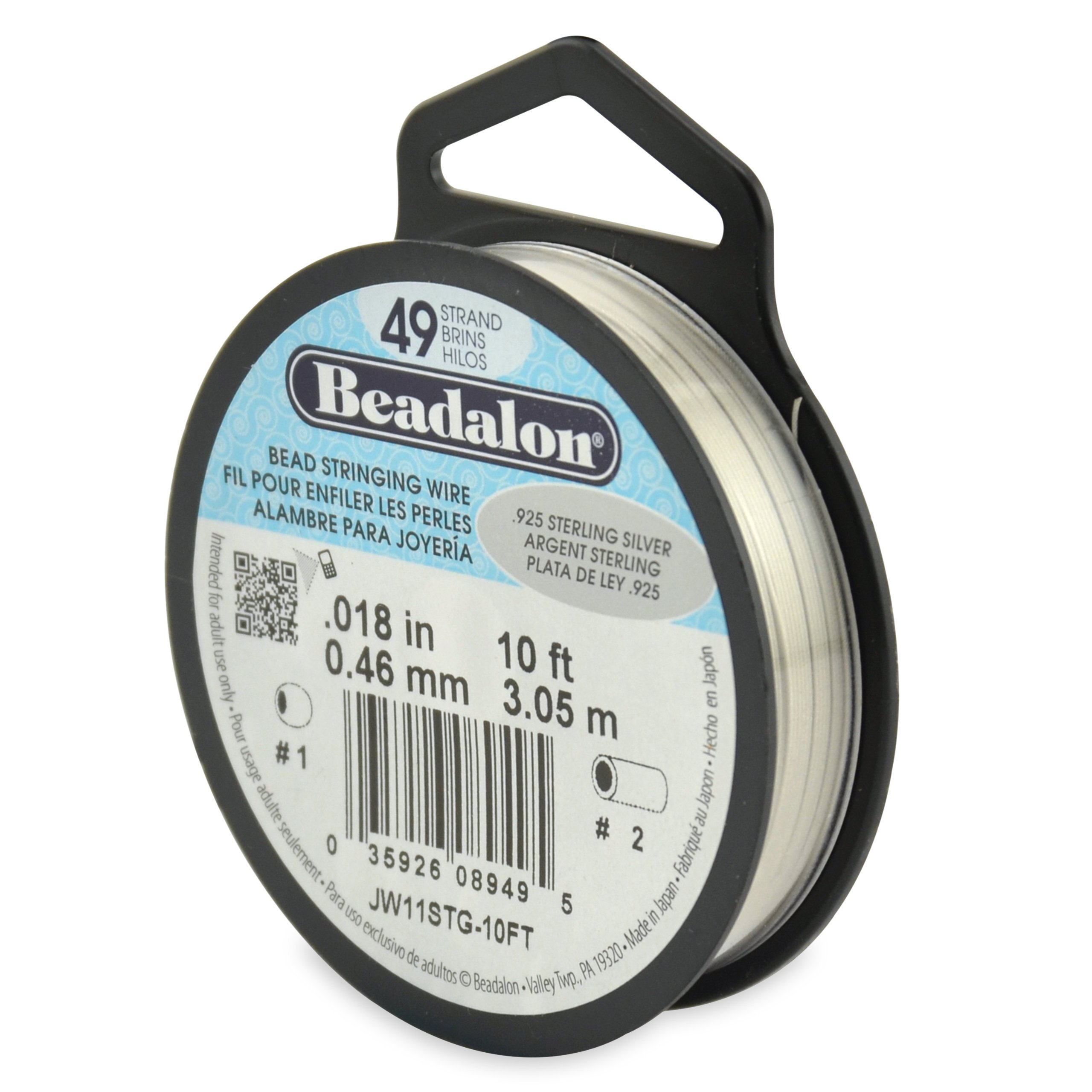 Beadalon 49-Strand Bead Stringing Wire, 0.018-Inch.925 Sterling Silver 10-Feet by Beadalon