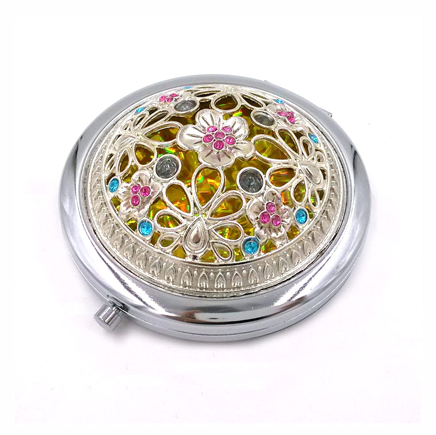 Duttek Mini Round Metal Cosmetic Makeup Double Compact Purse Mirror Pocket Mirror Double-sided Folding Cosmetic Round Mirror- Assorted Mirror Back Pattern design (Silver) RH-THH8-HR48