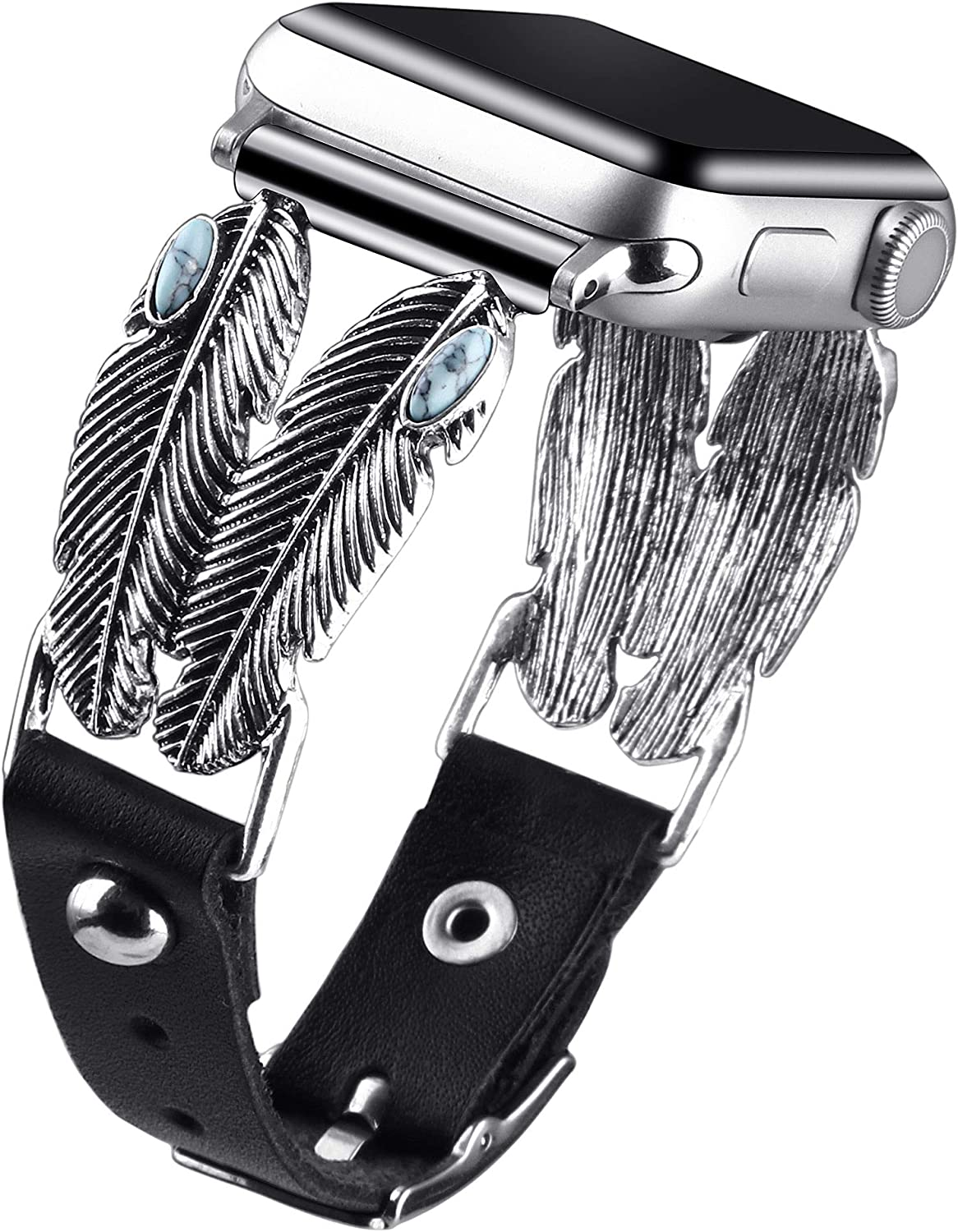 vikoros Jewelry Band Compatible with Apple Watch Bands' 38mm 40mm 42mm 44mm iWatch Series 6/5/4/3/2/1 SE Women Mens, Vintage Metal Dressy Bracelets Bling Leather Wristband Strap Accessories