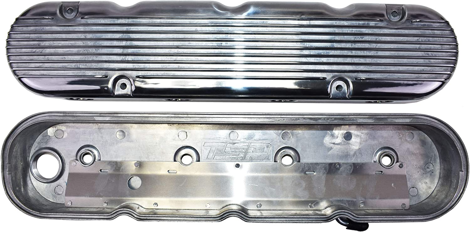 A-Team Performance GM LS Finned Cast Aluminum Valve Covers with Coil Mounts and Covers Compatible with Chevy Small Block SB V8 293 325 376 427 SATIN