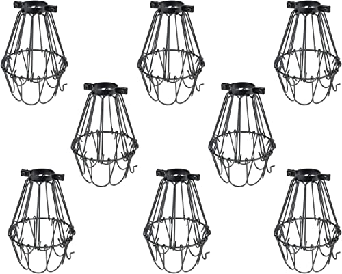 Rustic State Lampa Small Light Cage Metal Lamp Shade Black Set of 8
