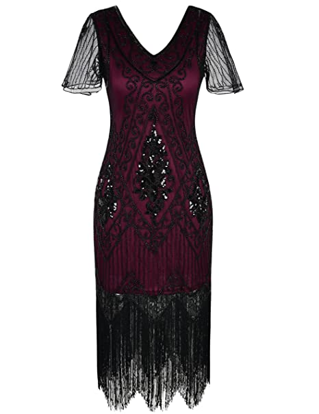 Roaring 20s Costumes- Flapper Costumes, Gangster Costumes PrettyGuide Womens 1920s Dress Sequin Art Deco Flapper Dress with Sleeve $38.99 AT vintagedancer.com
