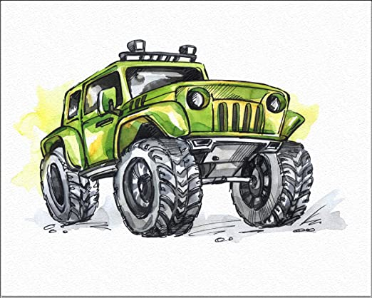 Amazon Com 7dots Art Monster Truck Watercolor Art Print 8 X10 On Fine Art Thick Watercolor Paper For Childrens Kids Boy S Room Bedroom Wall Art Decor Poster For Boys With Big Jeeps Cars Green